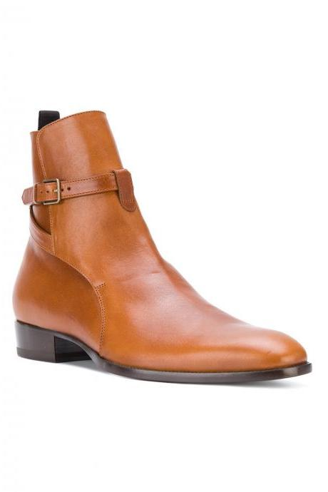 Handcrafted Men's Brown High Ankle Tan Jodhpur Genuine Leather Boot