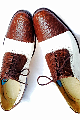 Handmade Men Oxford Crocodile Skin Belly Leather Lace up Brown White Exotic Shoes