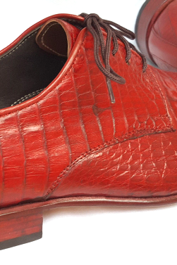 Unique Men Red Oxford Crocodile Belly Leather Laceup Shoes in US Size 8