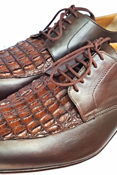 Handmade Men's Oxford Brown Round Toe Exotic Crocodile Hornback Genuine Leather Shoes