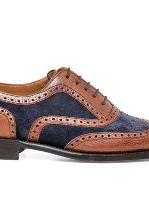 Handmade Men's Brown Oxford Brogue Toe Navy Blue Suede Leather Lace up Shoes