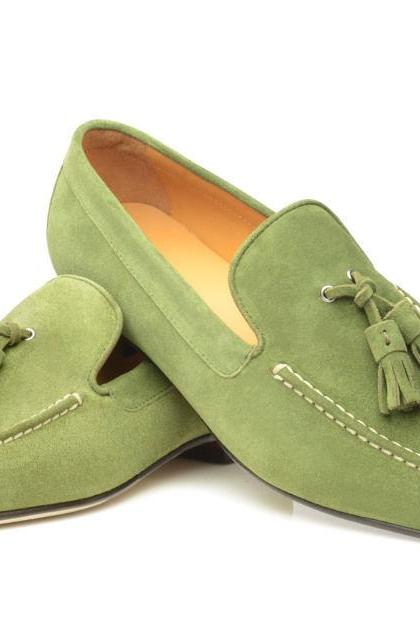 Made To Order Men's Green Tassel Loafer Moccasin Genuine Suede Leather Shoes
