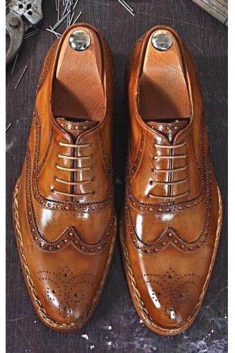Made To Order Hand Polished Men's Wingtip Tobacco Elegant Style Hand Stitched Genuine Leather Shoes