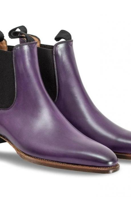 Handcrafted Men's Purple Chelsea Jumper Slip On Genuine Leather Boots