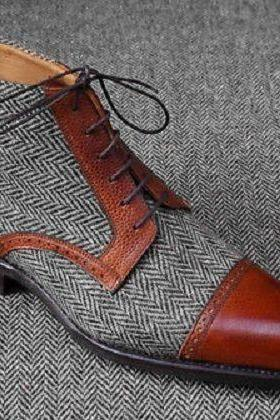 Men High Ankle Burnished Gray Suede Brown Cap Toe Laceup Tweed Pure Leather Boot