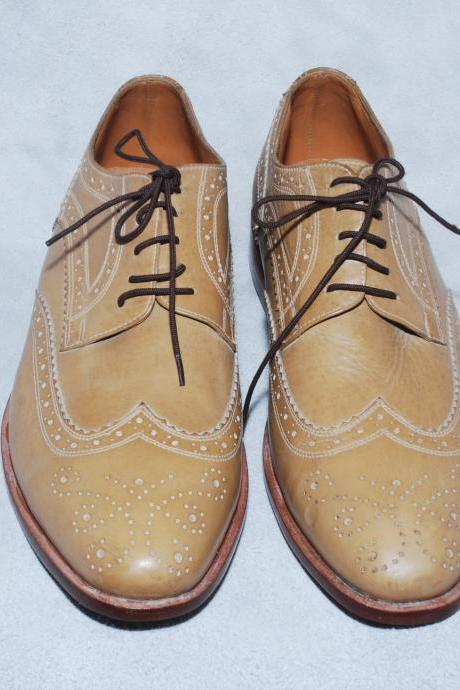 Men Beige Color Wing Tip Full Brogues Laceup Oxford Classical Real Leather Shoes