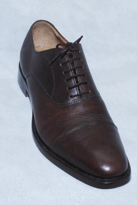 Brown Cap Toe Lace up Plain Tip Oxford Classical Pure Leather Shoes For Men