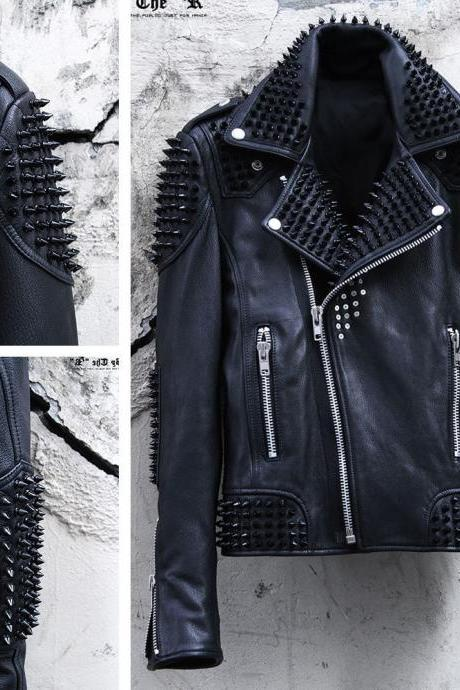 Men's Premium Leather Biker Handmade Black Color Metal Studded Rider Jacket