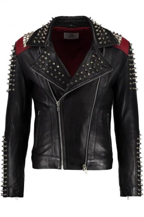 Customized Handmade Men Real Leather Jacket Black Color with Silver Spike Studs