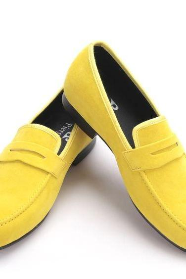 Men Yellow Moccasin Loafer Slip Ons Beige Lining Suede Leather Black Sole Shoes