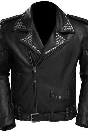Black Belted Genuine Leather Brando Style Jacket with Silver Studs for Men's