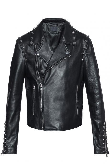 Black Genuine Leather Jacket with Handmade Silver Studs Brando Style for Men's