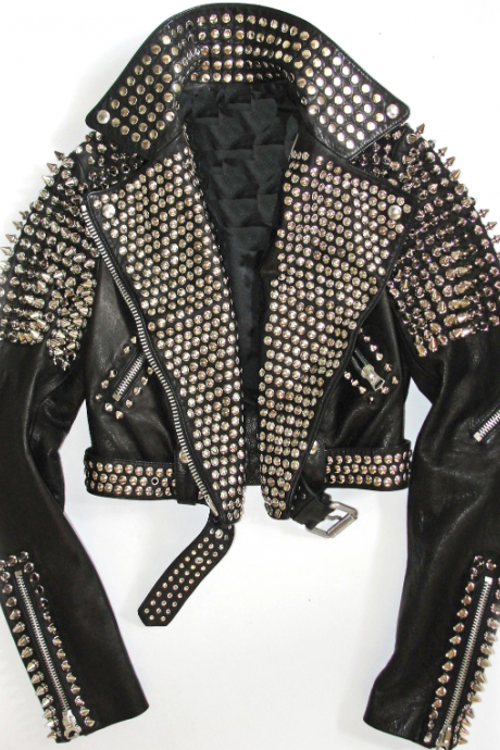 Black Color Genuine Leather Rock Punk Style Studded Biker Jacket for Women's