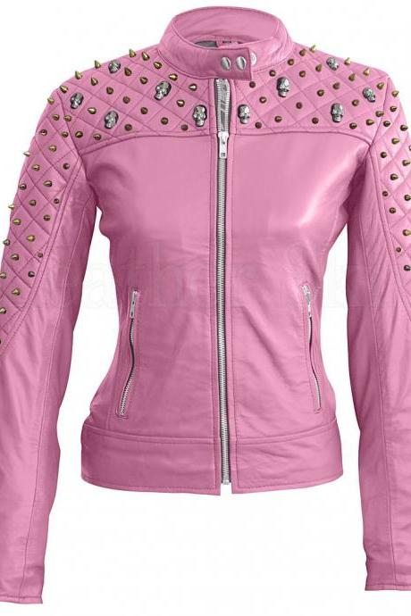 Genuine Leather Jacket Handcrafted Pink Spike Skeleton Gold Studs for Women's