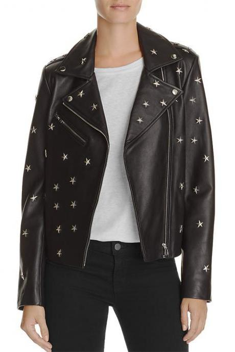 New Black Color Elegant Leather Handmade Star Studded Fashion Jacket Women's