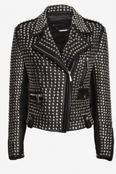 Black Color Biker Full Silver Studded Genuine Leather Handmade Jacket for Women