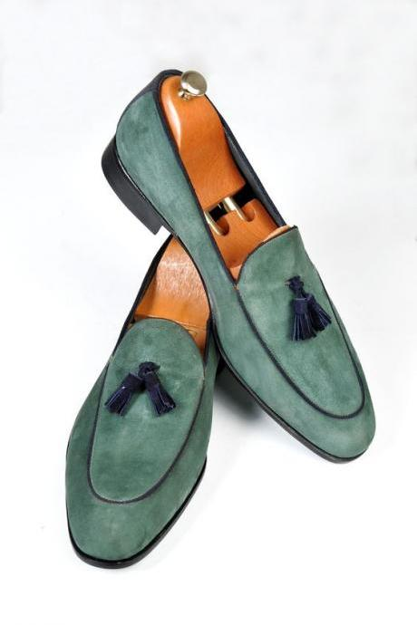 Green Moccasin Loafer Slip Ons Genuine Leather with Black Tassels & Sole for Men