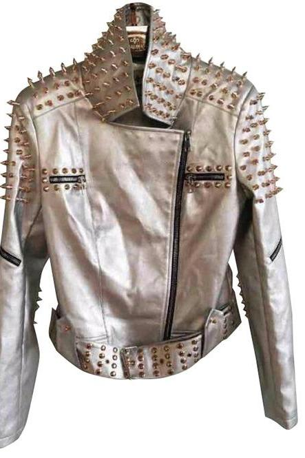 Multi Zip Belted Genuine Leather Slim Spiked Punk Rock Studs Jacket for Women's