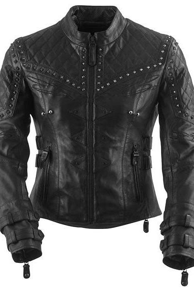 Women's Quilted Leather Silver Studs Stand up Collar with a Zipped Front Jacket
