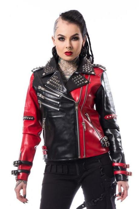 Two Tone Black Red Stylish Leather Jacket Silver Studded Brando Style For Women