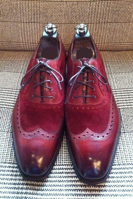 Maroon Oxford Wing Tip Burnished Plain Toe Real Leather Lace up Formal Men Shoes