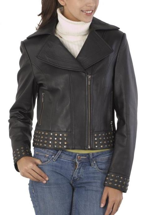 Black Front Studs Genuine Leather Jacket Silver Golden Studded Brando Style For Women