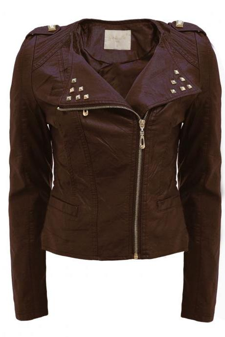 Brown Front Golden Studs on Collar Stylish Genuine Leather Jacket Slim Fit Zipper Sleeves For Women