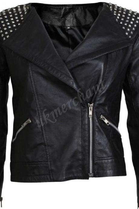 Black Front Silver Studs on Collar Stylish Genuine Leather Jacket Slim Fit Zipper Sleeves For Women