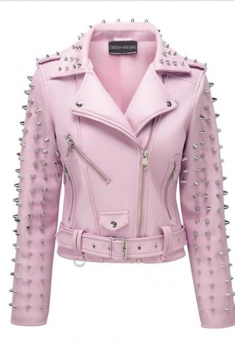 Women Pink Color Genuine Real Elegant Leather Jacket Silver Studded Belted Waist