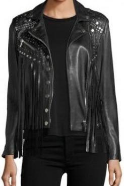 Black Genuine Real Leather Jacket Small Silver Studded & Fringes For Women