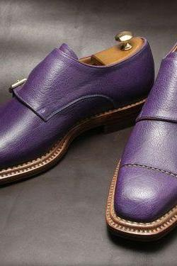 Genuine Leather Purple Monk Double Buckle Strap Plain Cap Toe Shoes for Men