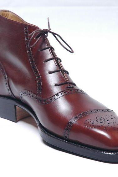 Coffee Brown Chukka Brogues Cap Toe Genuine Leather Lace up Party Wear Men Boots