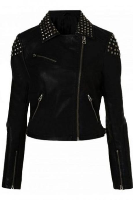 Black Color Genuine Real Leather Jacket Silver Studded Brando Style For Women
