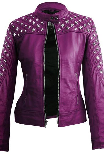 Purple Color Genuine Leather Jacket Silver Star Studded Quilted Arms For Women