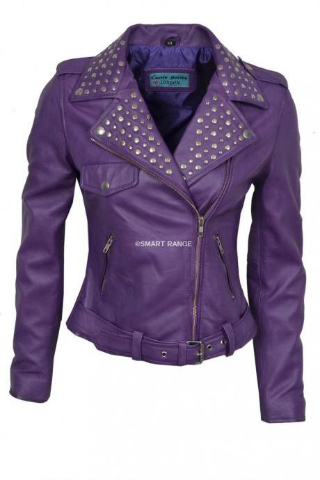Purple Color Biker Genuine Leather Jacket Silver Studded Brando Style For Women