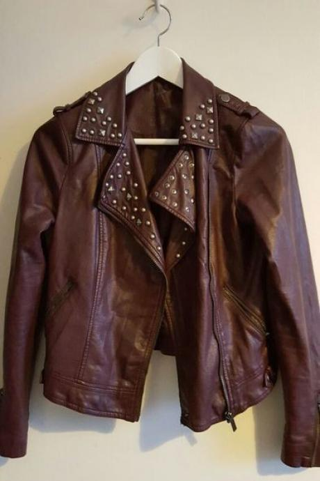 Women Dark Brown Biker Genuine Leather Real Leather Jacket Golden Studded