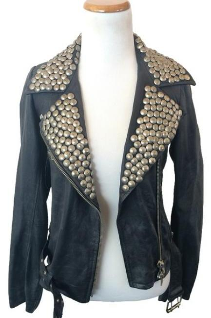Customized Gray Color Genuine Real Leather Jacket Heavy Golden Studded For Women