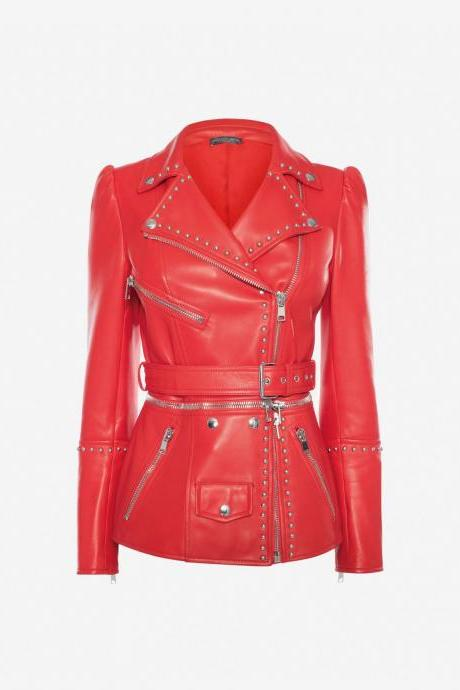 Women Red Genuine Real Leather Jacket Silver Studded Front Zipper Belted Waist