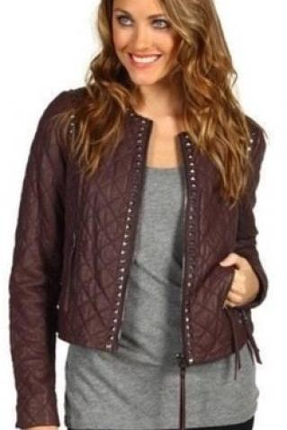 Customized Coffee Brown Genuine Stylish Leather Jacket Silver Studded For Women