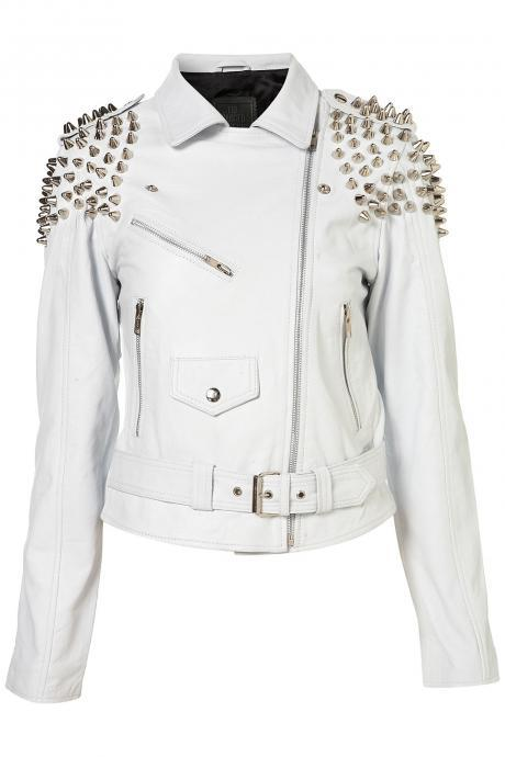 Women White Genuine Leather Jacket With Silver Studs On Shoulders Belted Waist