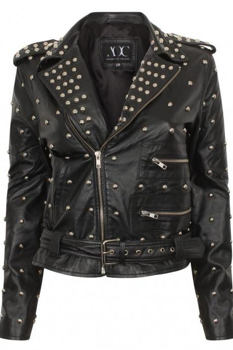 Black Genuine Real Leather Jacket With Full Golden Studs Brando Style For Women