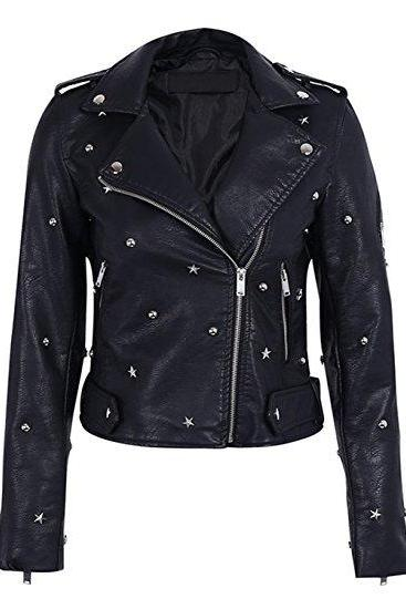 Black Color Genuine Real Biker Leather Jacket Star Silver Studded For Women
