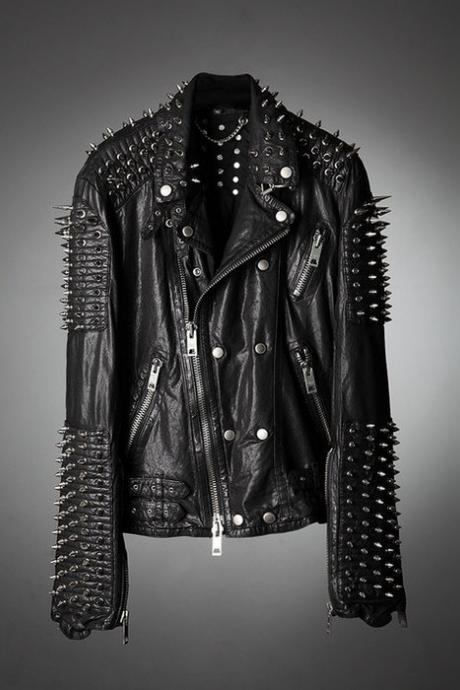Black Punk Style Classical Leather Jacket Large Spike Silver Studs For Men