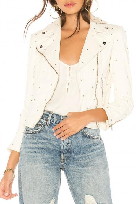 White Color Women Biker Genuine Leather Jacket Small Silver Studs Hand Stitched