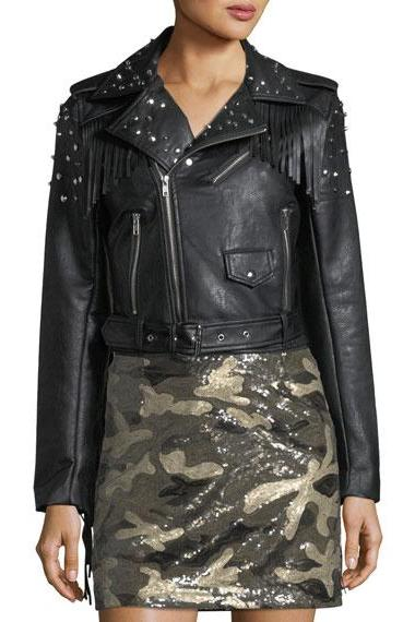 Black Color Women Genuine Leather Jacket Silver Studded & Fringes Brando Style