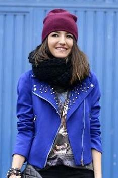 Women Blue Color Stylish Genuine Leather Jacket With Silver Studs Front Zipper