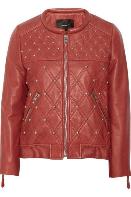 Hand Stitched Women Red Casual Genuine Leather Jacket Silver Studs Front Zipper