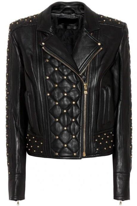 Hand Crafted Black Genuine Leather Jacket Golden Studs Front Zipper For Women