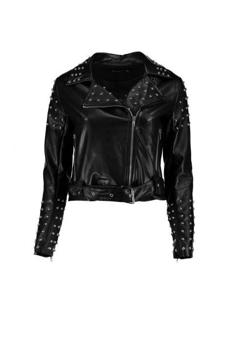Customized Women Black Real Classical Leather Jacket Silver Studs Front Zipper