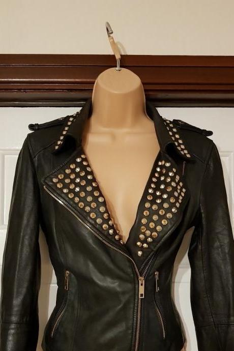 Hand Stitched Women Black Real Classical Leather Jacket Golden Stud Brando Style